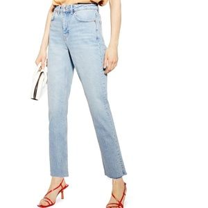 Topshop Raw Hem Straight Jeans